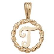 9ct Gold Round rope edged Initial letter T pendant 0.8g